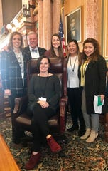 The Iowa Credit Union League came visited the Capitol last week and spoke with state Rep. Scott Ourth. Pictured with Ourth are Fran Duncan, front, and  Lynn Carr, Jen Weiland, Helen Dao and Linette Quintanilla.