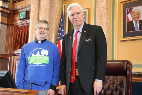 Pastor Joel Nau from St. Paul Lutheran Church in Winterset met with  state Rep. Stan Gustafson during Lutheran Day on the Hill.