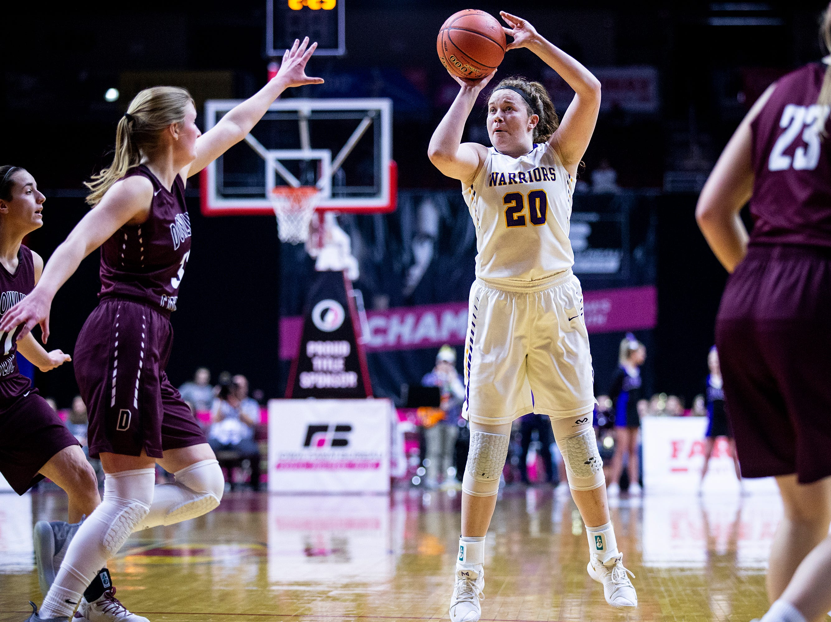 Waukee's Anna Brown shoots the ball during the Class 5A Iowa girls' state basketball tournament quarterfinal between Dowling Catholic and Waukee on Monday, Feb. 25, 2019, in Wells Fargo Arena.