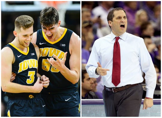 Jordan Bohannon (3) helped Luka Garza (55) and the Iowa Hawkeyes perform another great escape over the weekend against Indiana and stay in the top 25. Steve Prohm's Iowa State Cyclones lost a pair of games last week and dropped from the Feb. 25 national rankings.