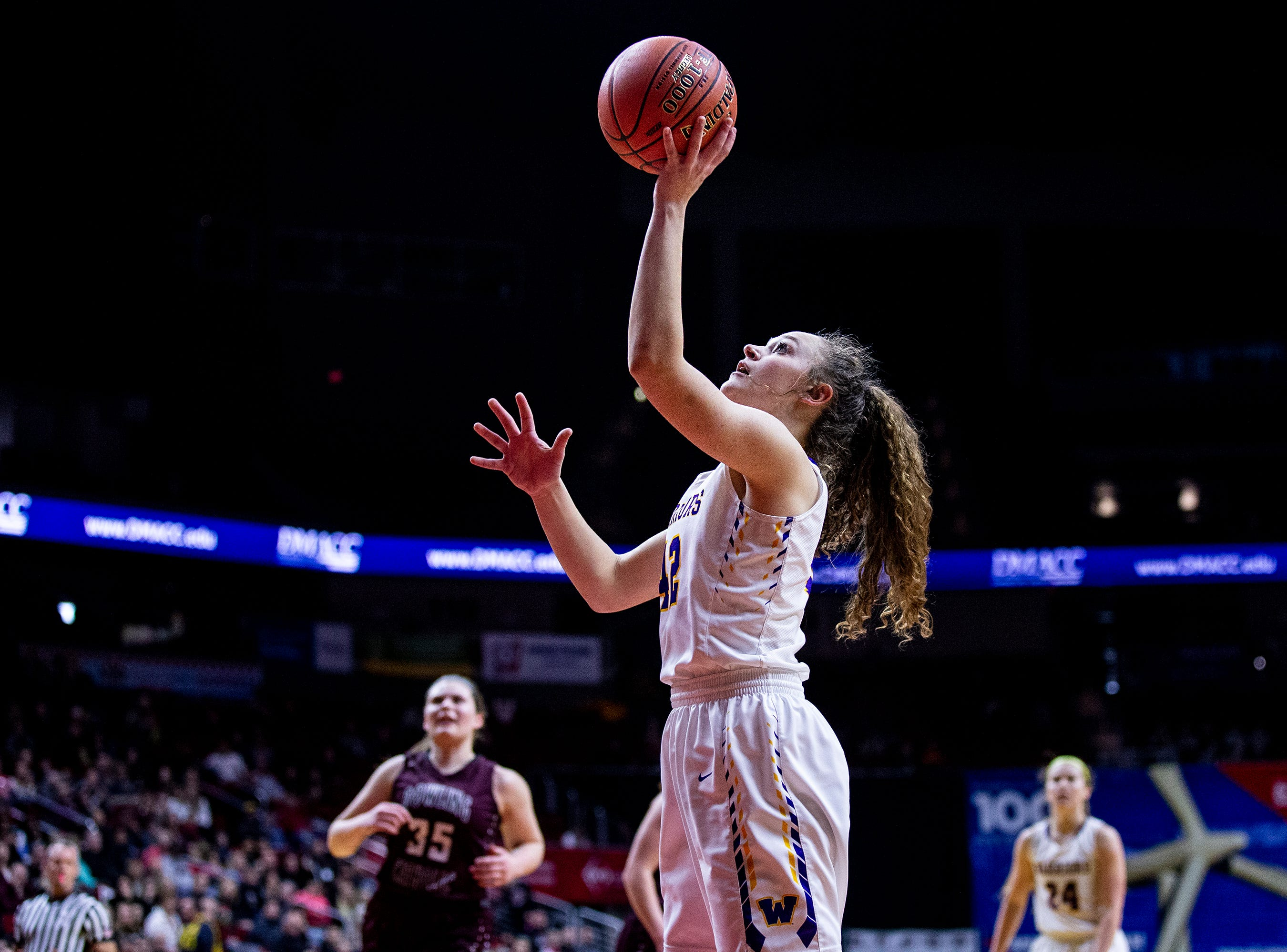 Waukee's Taryn Reitsma shoots the ball during the Class 5A Iowa girls' state basketball tournament quarterfinal between Dowling Catholic and Waukee on Monday, Feb. 25, 2019, in Wells Fargo Arena.
