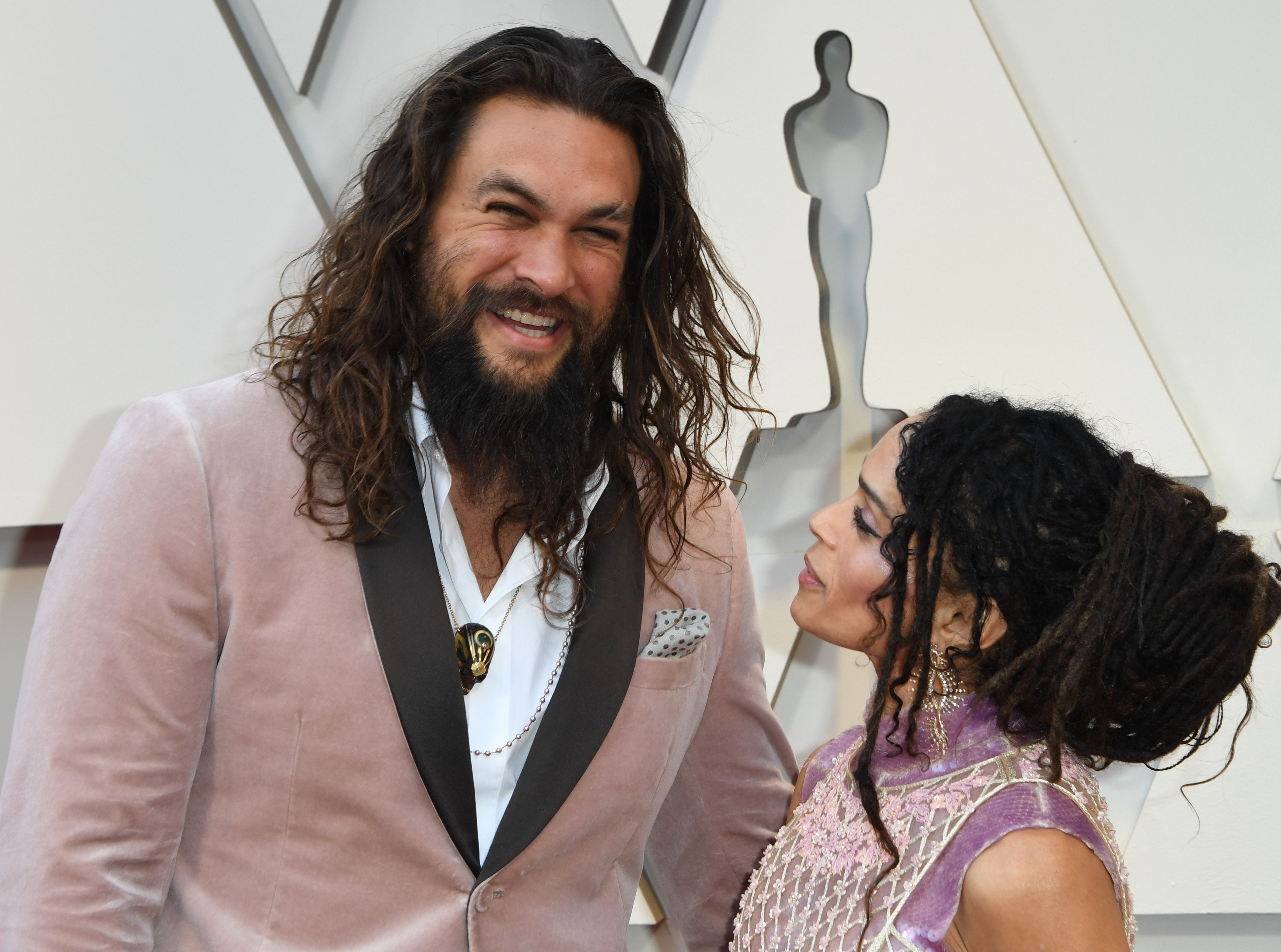 Actor Jason Momoa and wife actress Lisa Bonet arrive for the 91st Annual Academy Awards at the Dolby Theatre in Hollywood, California on February 24, 2019.