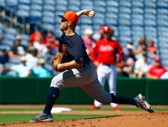 Tigers starting pitcher Jordan Zimmermann throws a pitch during the first inning of a spring training baseball game against the Phillies on Monday, Feb. 25, 2019, at Spectrum Field.