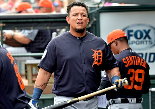Tigers first baseman Miguel Cabrera reacts in the dugout against the Cardinals on Monday, Feb. 25, 2019, at Roger Dean Chevrolet Stadium.