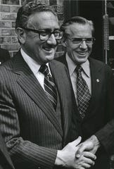 Bill Broomfield, right, with Henry Kissinger in 1978.