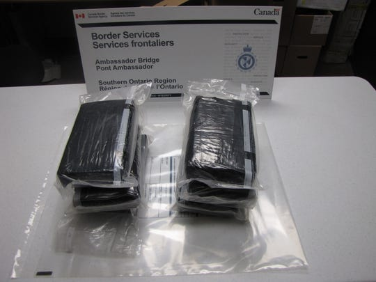 Bricks of suspected cocaine seized from a truck on Feb. 19, 2019.