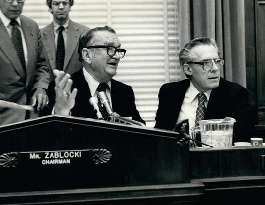 Washington D.C. House Foreign Affairs Chairman Clement Zablocki (left) and Rep. William S. Broomfield (right) Mich., as they participated in asking questions on the Israeli attack on Iraqi nuclear facilities in the Middle East.