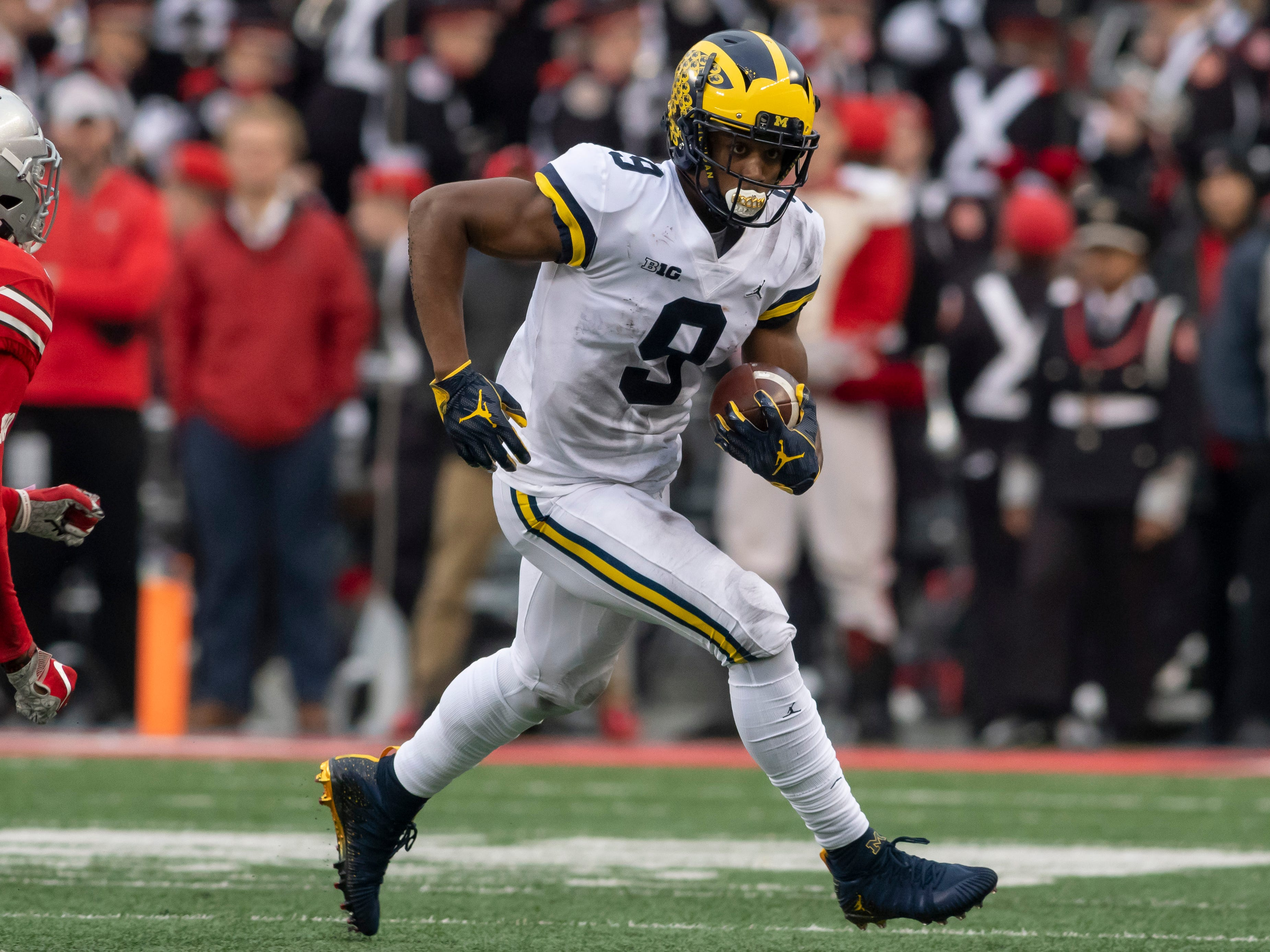 """WIDE RECEIVER: Donovan Peoples-Jones – He has been described by his teammates as a """"freak athlete."""" He led the team with eight touchdown receptions and had 612 yards on 47 catches."""