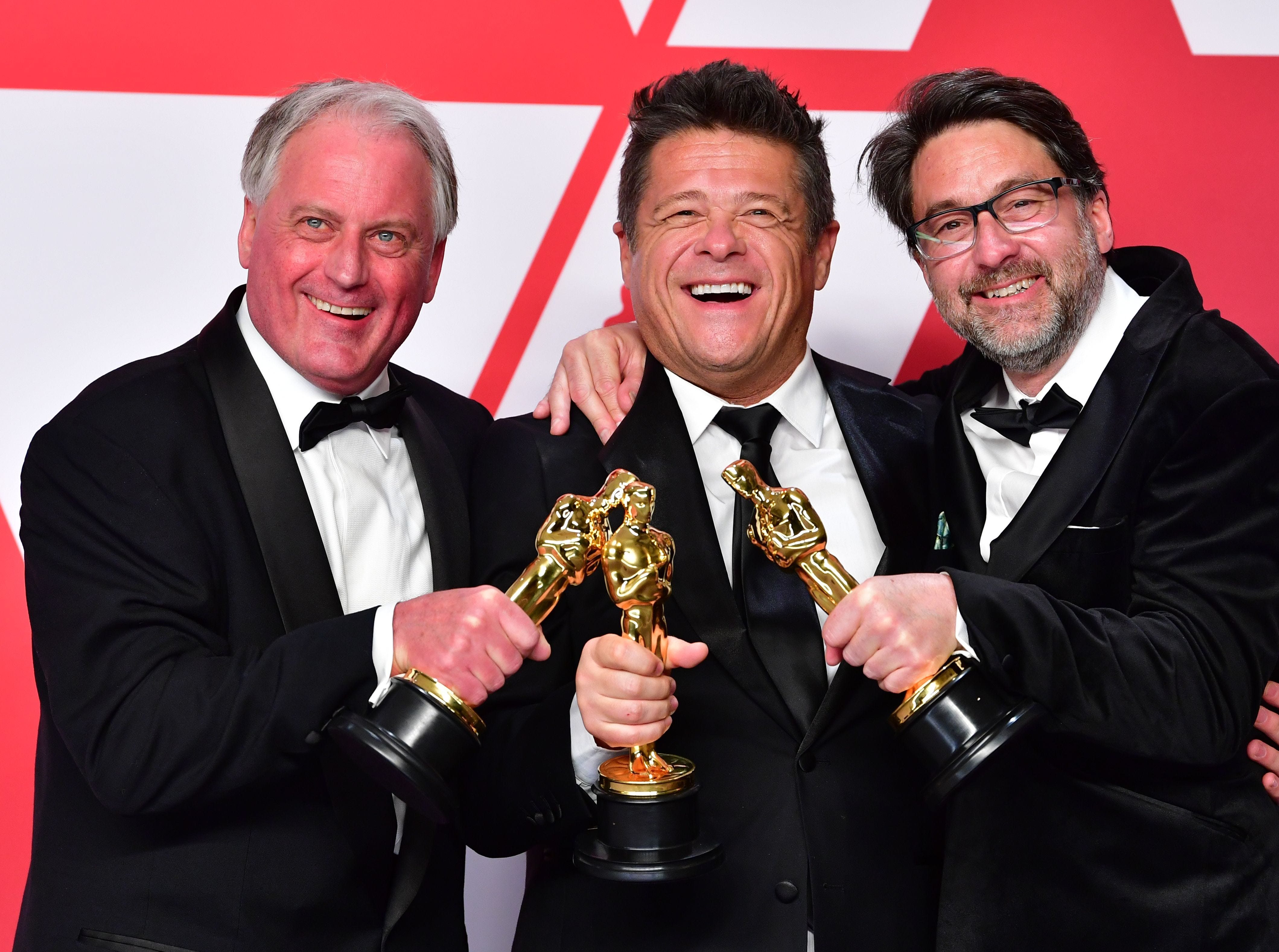 "Best Sound Mixing winner for ""Bohemian Rhapsody"" Paul Massey, Tim Cavagin and John Casali pose in the press room."
