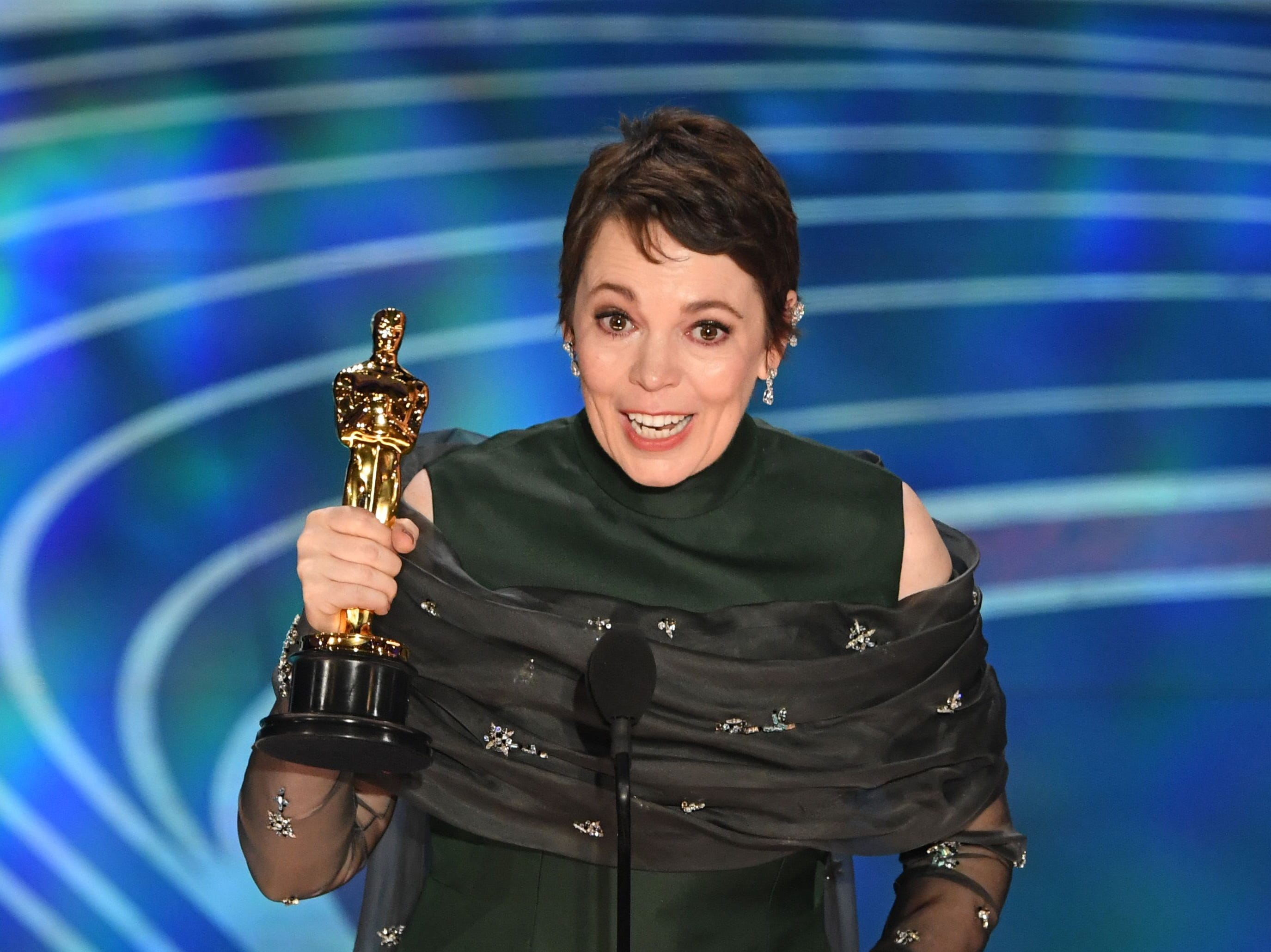 "Best Actress nominee for ""The Favourite"" Olivia Colman accepts the award for Best Actress during the 91st Annual Academy Awards at the Dolby Theatre in Hollywood, California on February 24, 2019."
