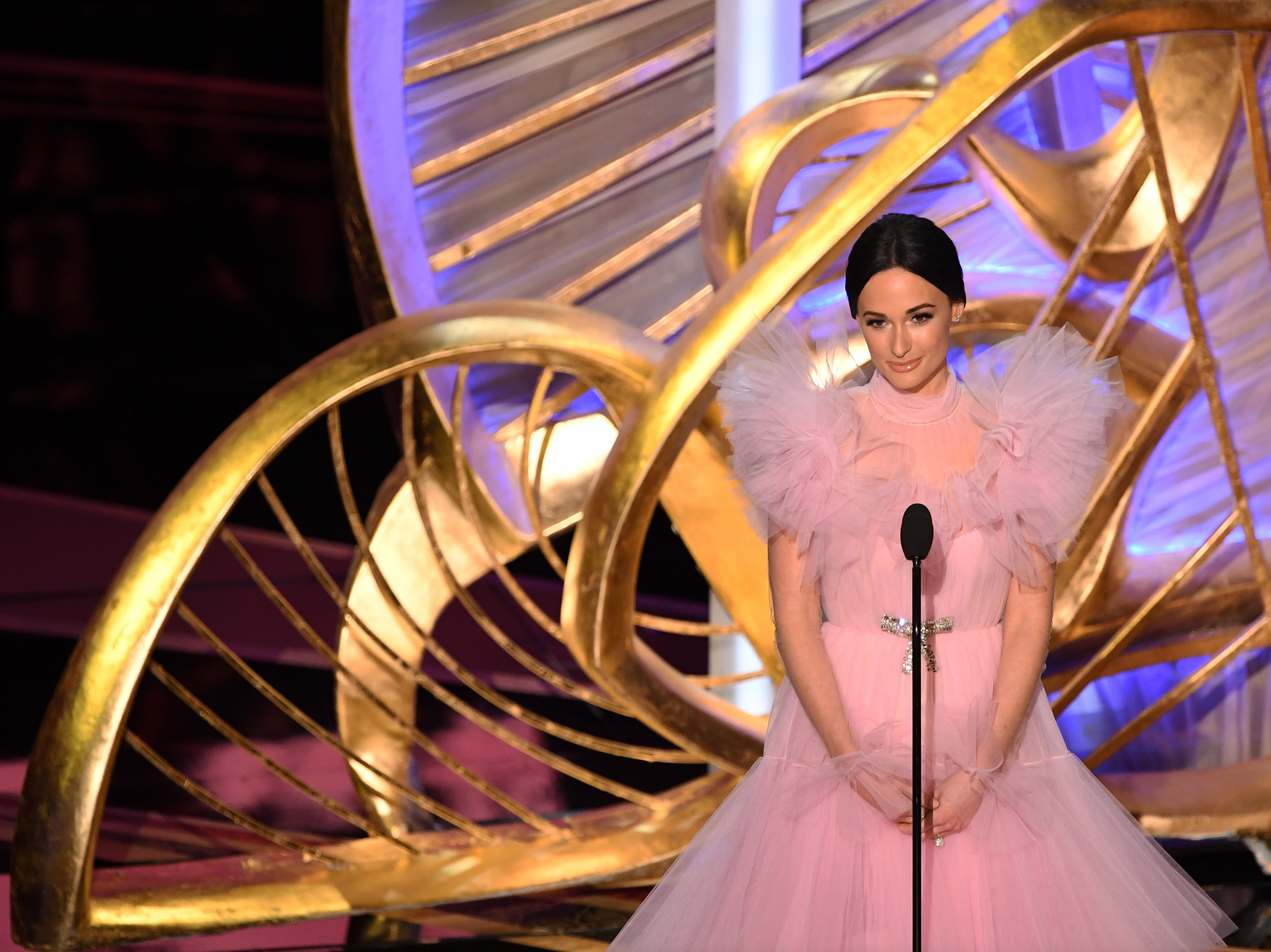 US Country music star Kacey Musgraves presents an award during the 91st Annual Academy Awards.