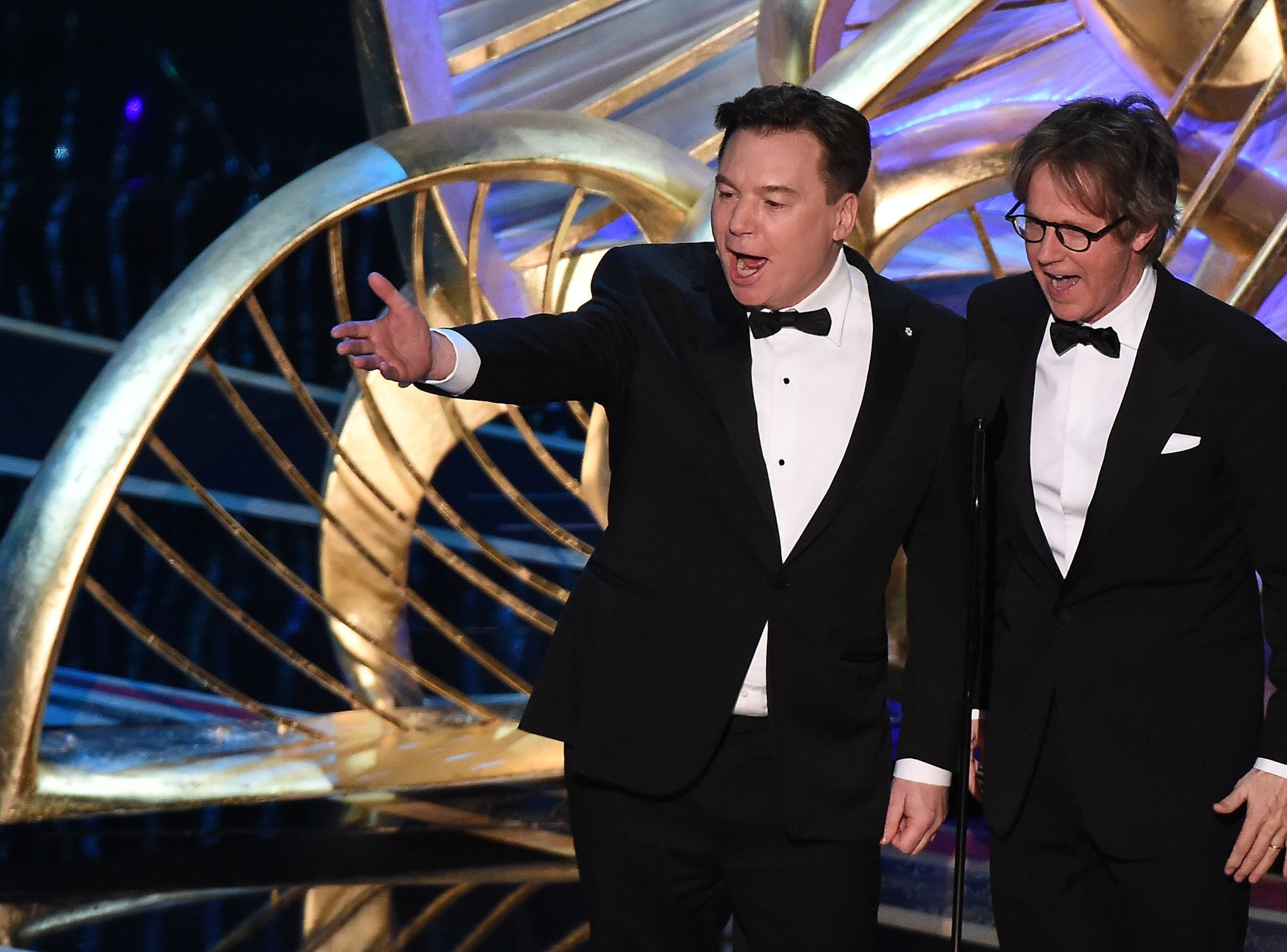 Comedian Mike Myers and Dana Carvey present an award during the 91st Annual Academy Awards.