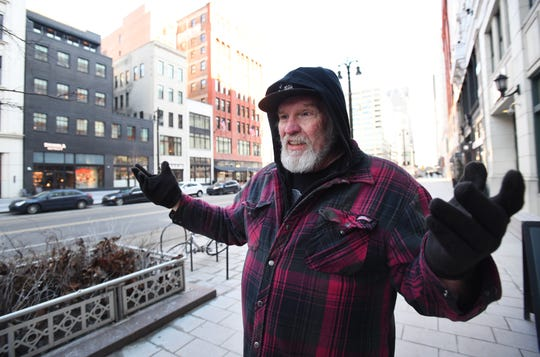 Jim Karaszewski, 66, of Detroit gives his thoughts on the Shinola comments on the Oscars last night across the street from the Shinola store and hotel on February 25, 2019.