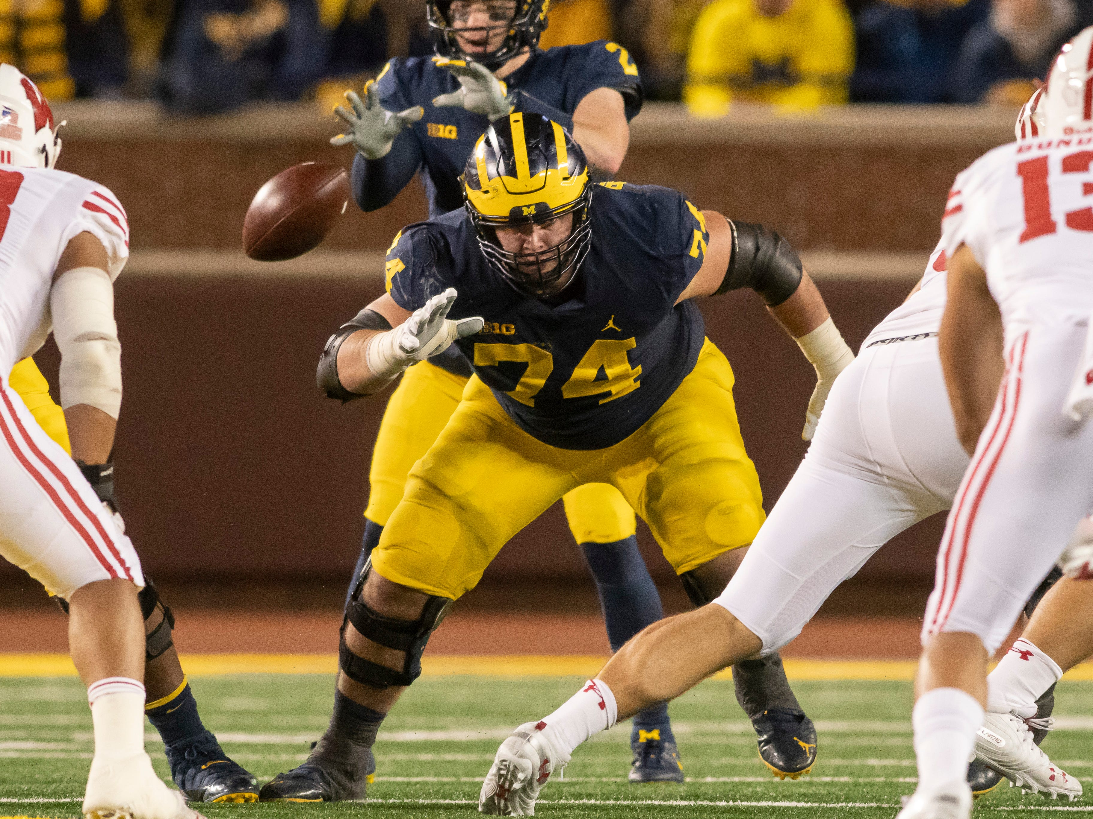 """LEFT GUARD: Ben Bredeson – Bredeson is the glue and most experienced lineman of the group. He was a captain last season and was named the team's """"toughest player."""" He was second-team All-Big Ten and has made 32 starts at left guard."""