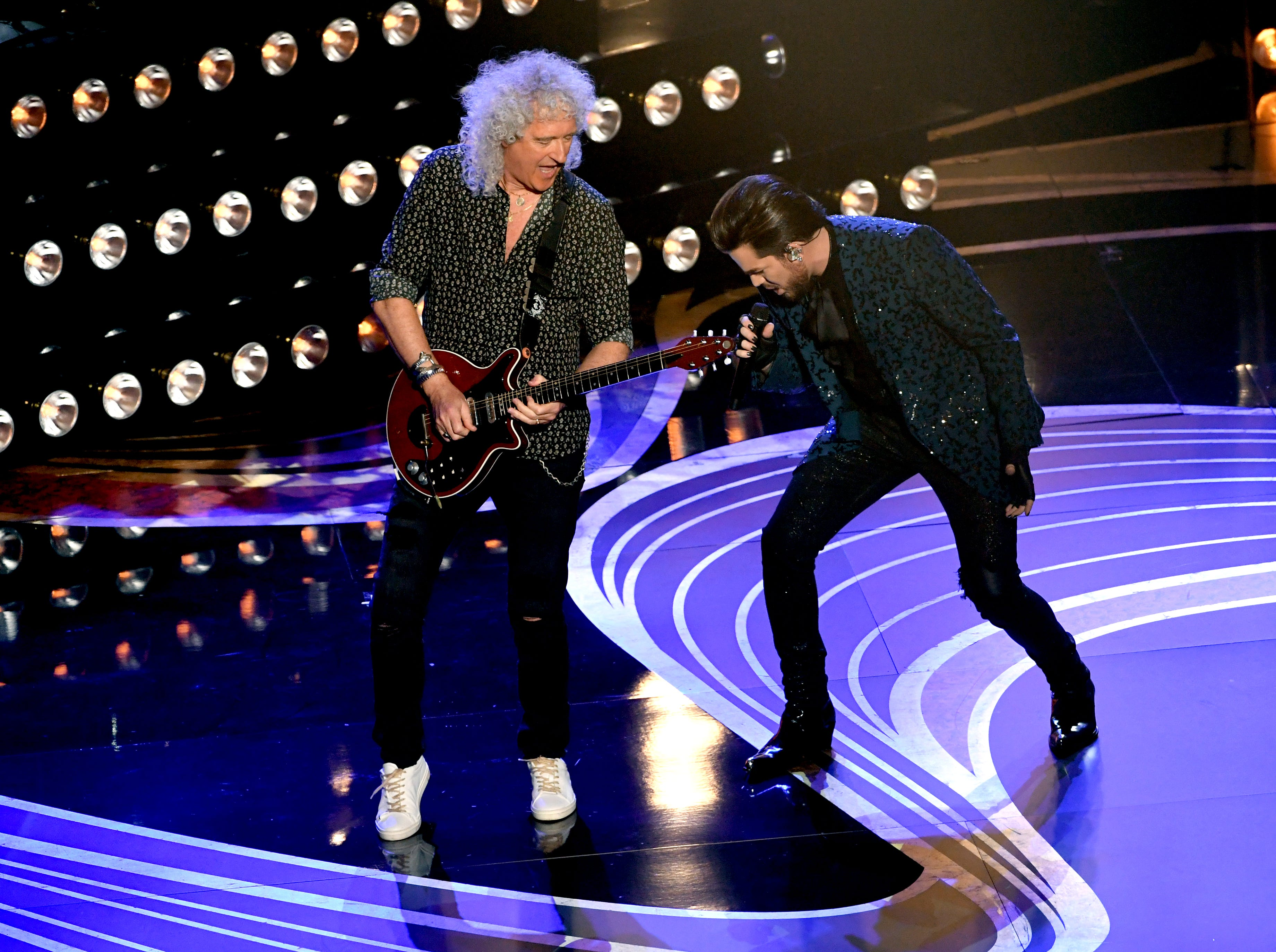Adam Lambert and Brian May of Queen perform onstage during the 91st Annual Academy Awards.