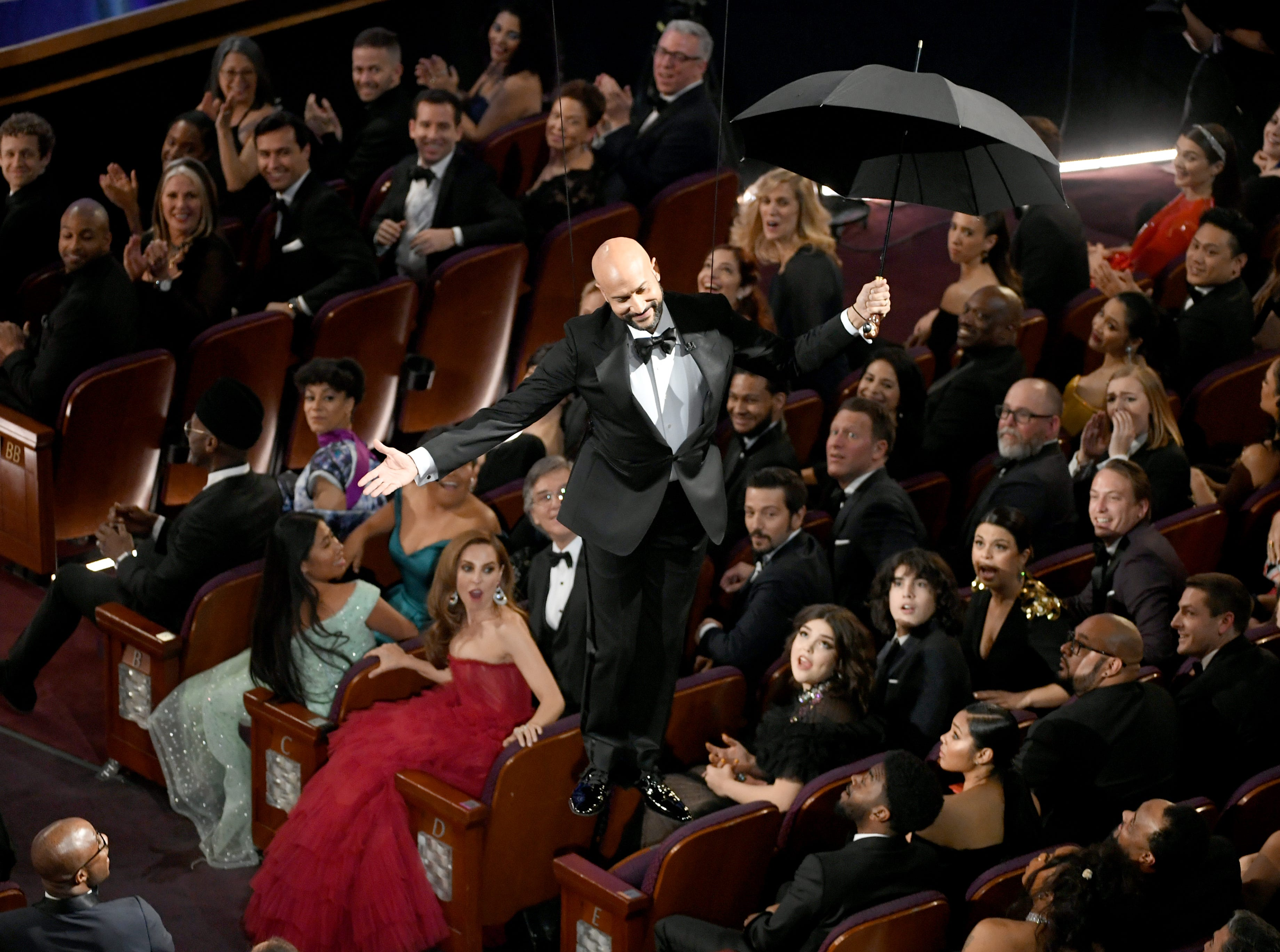 Keegan-Michael Key descends to the floor during the 91st Annual Academy Awards at Dolby Theatre on February 24, 2019 in Hollywood, California.