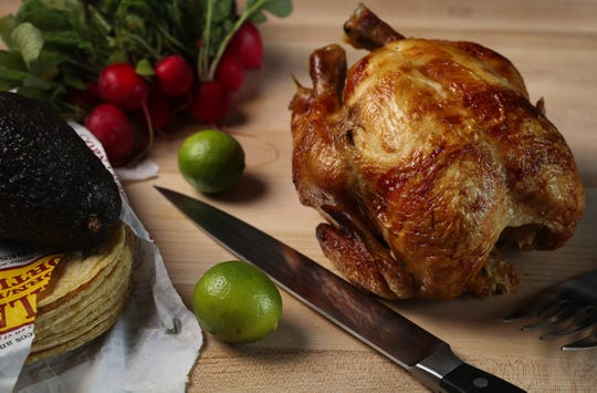A supermarket rotisserie chicken can yield enough meat to make two taco dinners. (Abel Uribe/Chicago Tribune/TNS)