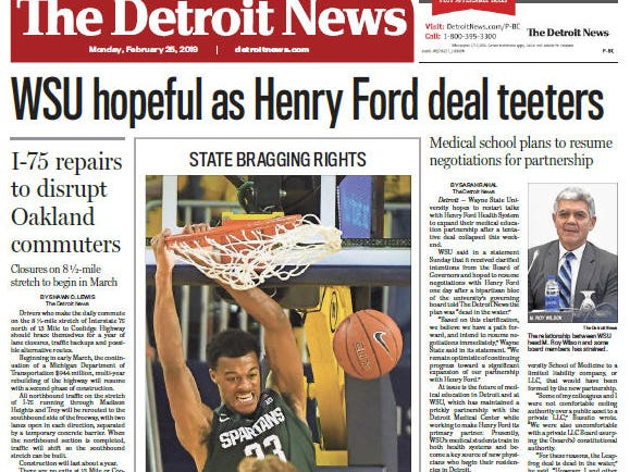 Front page of The Detroit News on Monday, February 25, 2019