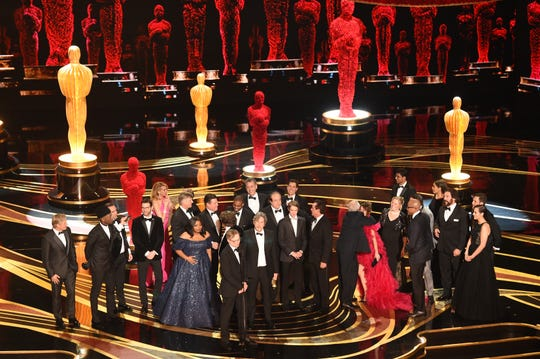 Cast and crew of 'Green Book' accept the Best Picture award onstage during the 91st Annual Academy Awards at Dolby Theatre on February 24, 2019 in Hollywood, California.