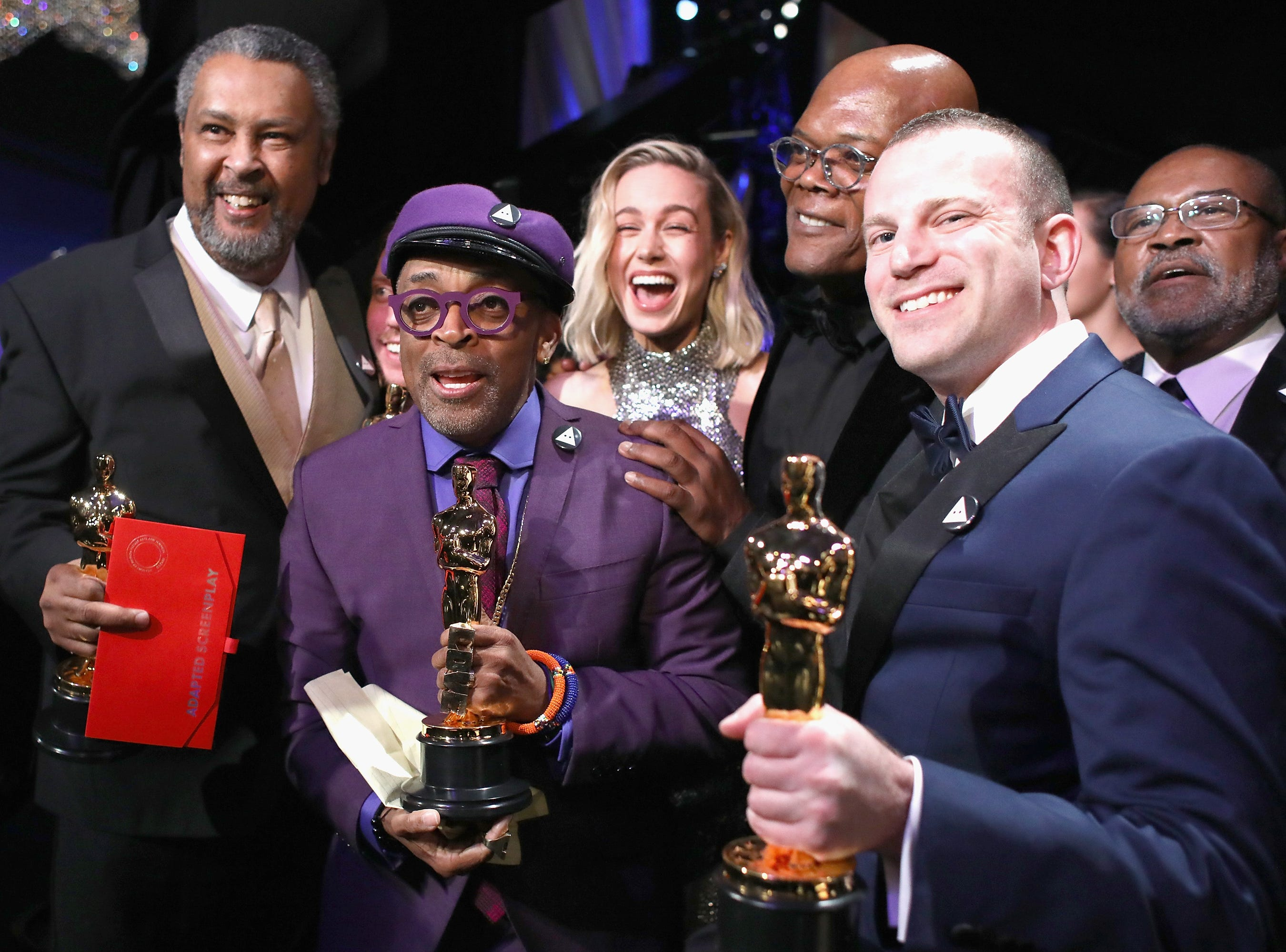 Spike Lee, David Rabinowitz, Kevin Willmott and Charlie Wachtel pose with the Adapted Screenplay award for 'BlacKkKlansman' backstage during the 91st Annual Academy Awards.