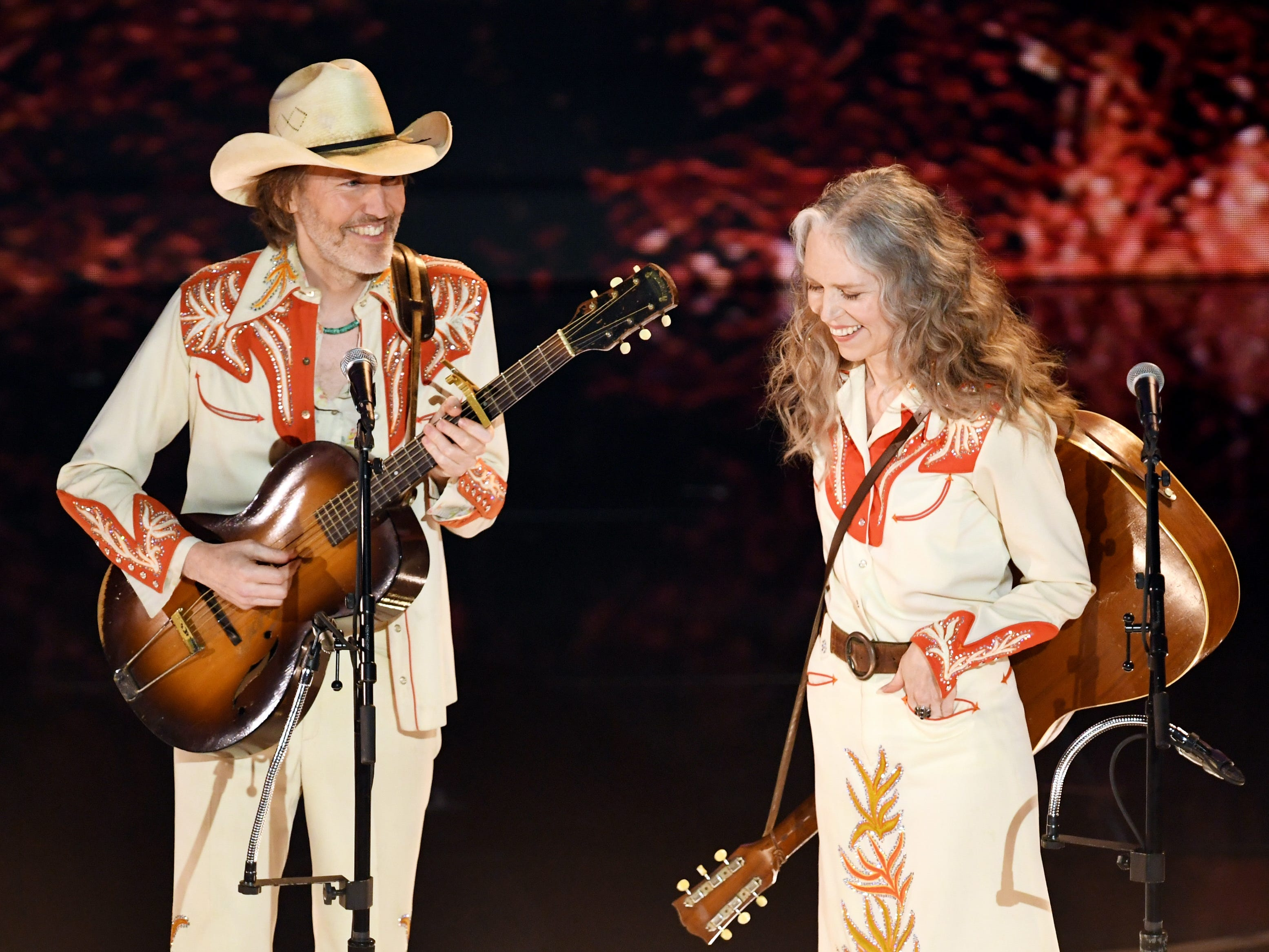 David Rawlings and Gillian Welch perform onstage during the 91st Annual Academy Awards.