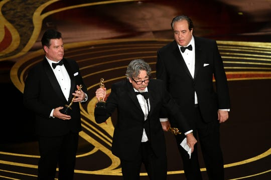 Brian Currie, Peter Farrelly, and Nick Vallelonga accept the Original Screenplay award for 'Green Book' onstage during the 91st Annual Academy Awards at Dolby Theatre on February 24, 2019 in Hollywood, California.