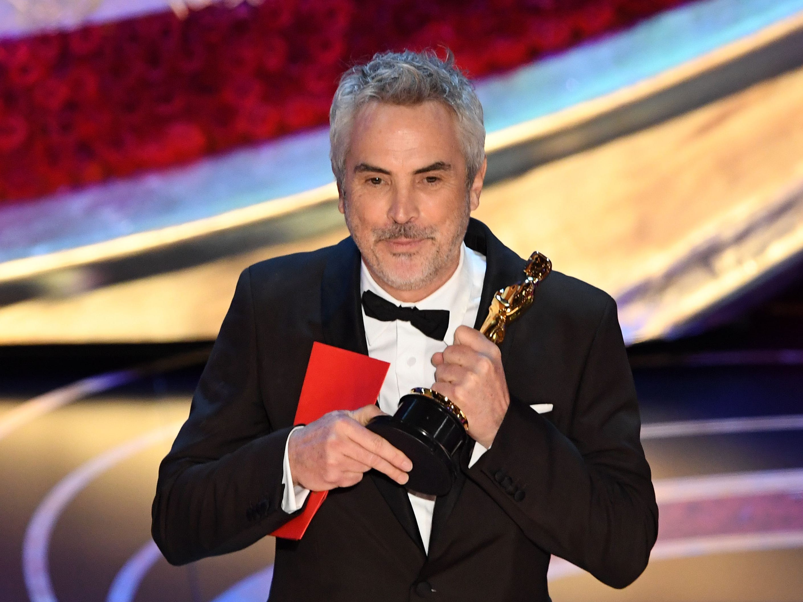 "Best Foreign Language Film nominee for ""Roma"" Mexican director Alfonso Cuaron accepts the award for Best Foreign Language Film during the 91st Annual Academy Awards."