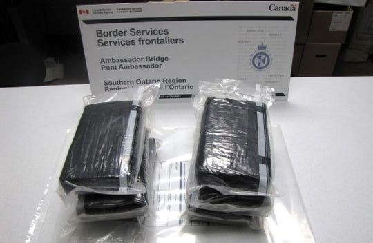 Officials said 8.2 kg of suspected cocaine was seized Feb. 19, 2019, at the Ambassador Bridge in Windsor, Ontario.