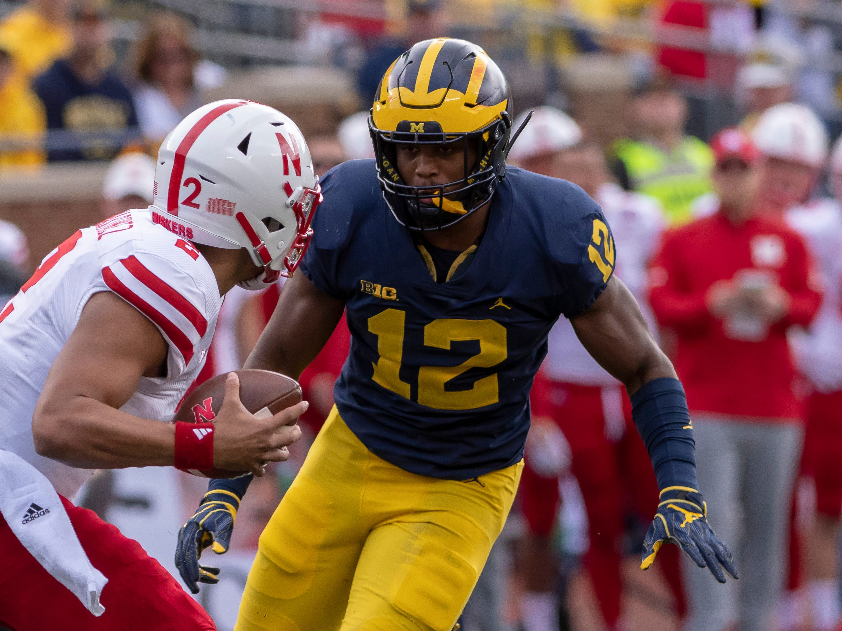 MIDDLE LINEBACKER: Josh Ross – He was honorable mention All-Big Ten last fall and earned the team's Blue Collar Award. Ross, who will be a junior this season, filled in for Devin Bush at the Peach Bowl. He finished the season with 61 tackles, including five tackles for loss.