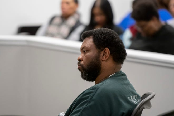 Pastor Albert Weathers listens to testimony in 36th District Court in Detroit during a preliminary hearing in the death of Kelly Stough, Feb. 25, 2019.
