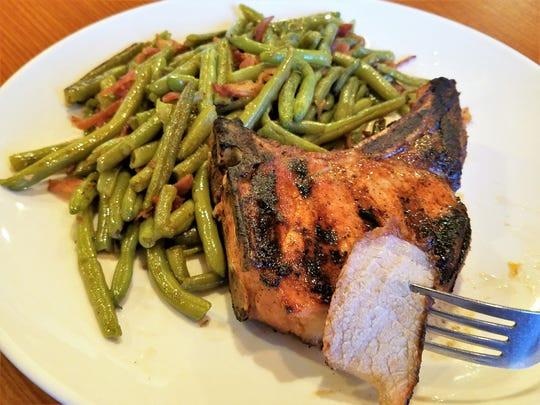 Oh that chop. A big, moist, well seasoned pork chop at Nellie's Restaurant.