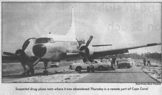 A suspected drug plane is pictured abandoned in Cape Coral in this News-Press file photo from March 2, 1979.