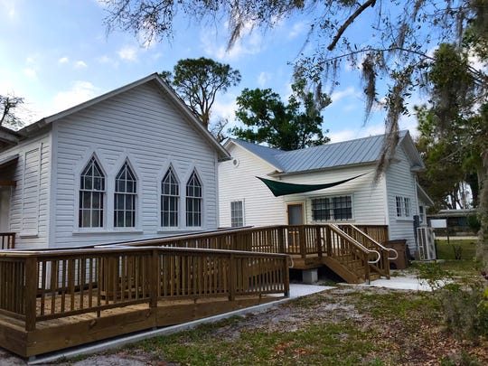 The restored Owanita Chapel is now connected to the Alva Library Museum by a new, accessible deck.