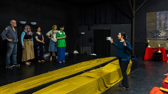 "Biba Sheikh, right, works with local actors at Third Avenue Playhouse during a rehearsal for ""Right to Live."""