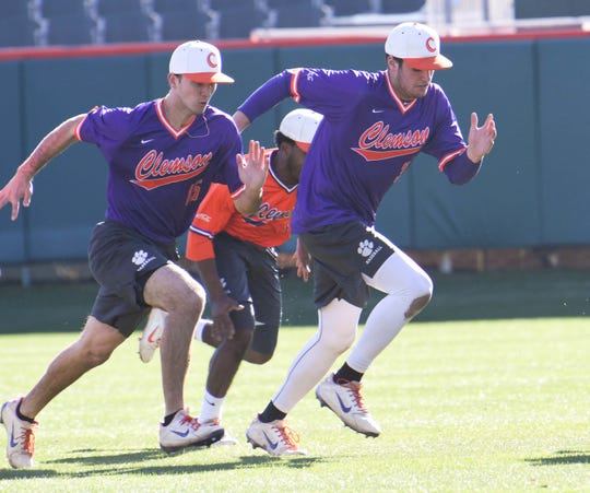 Davis Sharpe, right, is leading the way among freshmen on the Clemson pitching staff