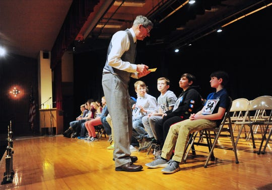 """The Cascade County Spelling Bee, Monday morning at West Elementary School.  Holy Spirit Catholic School eighth grader Jamie MacDonald won the competition with the word """"Paparazzo""""."""