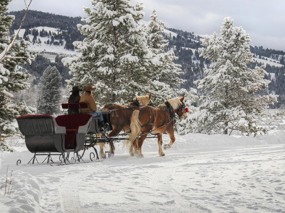 Horse-drawn sleigh rides are available to guests at The Ranch at Rock Creek.