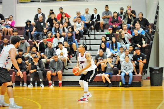 In this file photo from early 2019, J.P. Cruz is set for his favorite shot outside the 3-point line. Cruz scored 39 points for Team Gatorade against the Four Stars Oct. 23 at the UOG Calvo Field House in the Triton Men's Basketball League.