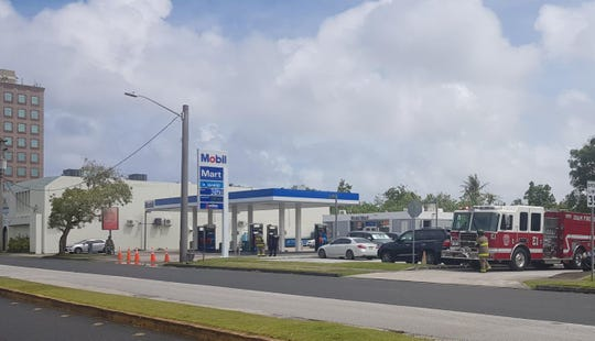 Guam Fire Department units responded to a foul odor at the Tanaka building in Hagåtña on Feb. 25, 2019.