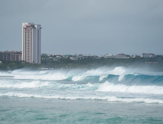 Swells form in the waters of Tumon Bay on Feb. 25, 2019.