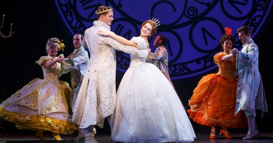 "Ella (or Cinderella) dances with Prince Topher in the famous royal ball scene from the Rodgers and Hammerstein musical ""Cinderella."""