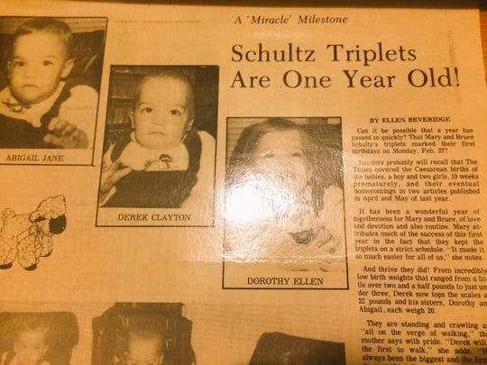 "The Schultz triplets were followed from their birth by ""The Trumbull Times,"" which called them ""miracles."""