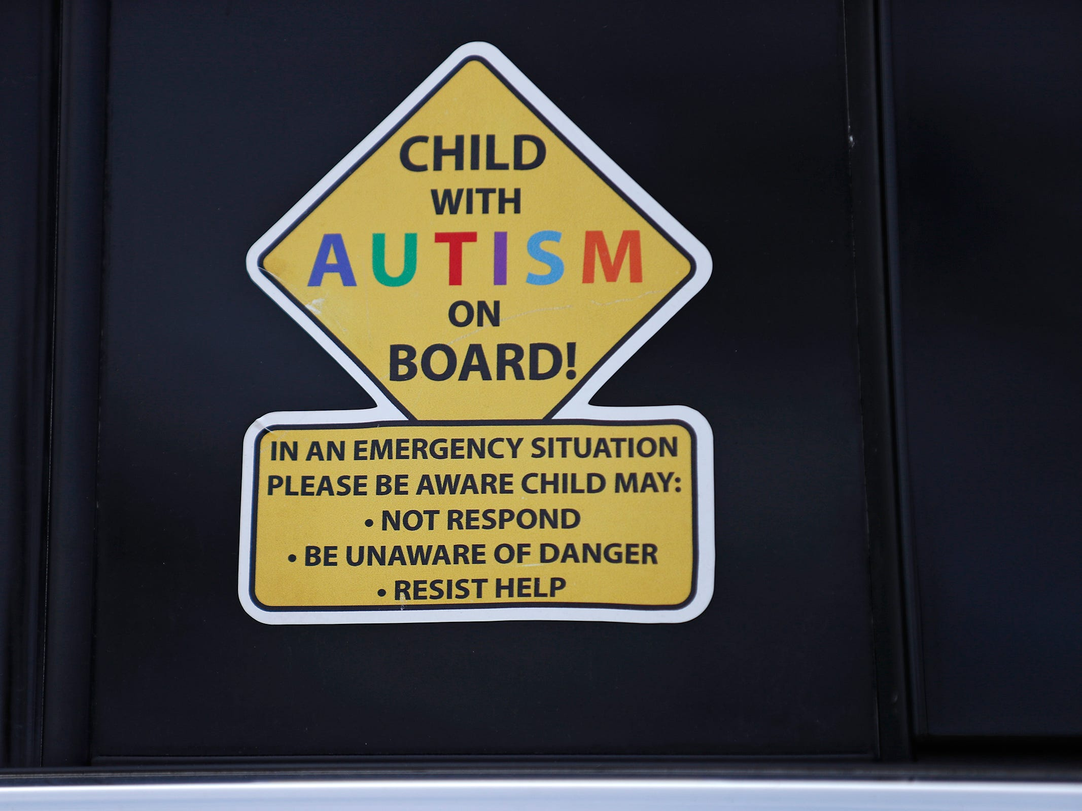 Dave and Heidi Curtis, Charly's parents, keep Autism alert stickers on their vehicles, seen here, Thursday, Feb. 21, 2019. Charly was born with a genetic condition that eventually led her to develop grand mal seizures. After trying many medications that would work at first then become ineffective, they eventually tried treating her with THC, which has been known to help children with seizures.  But in Indiana, that meant going through a lot of bureaucratic red tape.  When their THC was about to run out, Charly's father drove to Colorado to replenish their supply.  In his absence, Charly had a seizure and died.  The New Castle family wants to share their story to promote the legalization of medical marijuana.