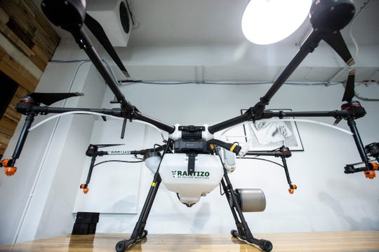 A DJI outfitted Rantizo drone sits in a back room on Monday, Feb. 25, 2019 at Rantizo's offices in Iowa City, Iowa. Rantizo is a targeted drone sprayer company.