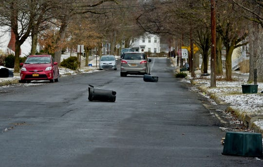 Winds gusts of over 50 mph were reported in Tompkins County on Monday, causing debris to blow into some Ithaca streets. February 25, 2019.