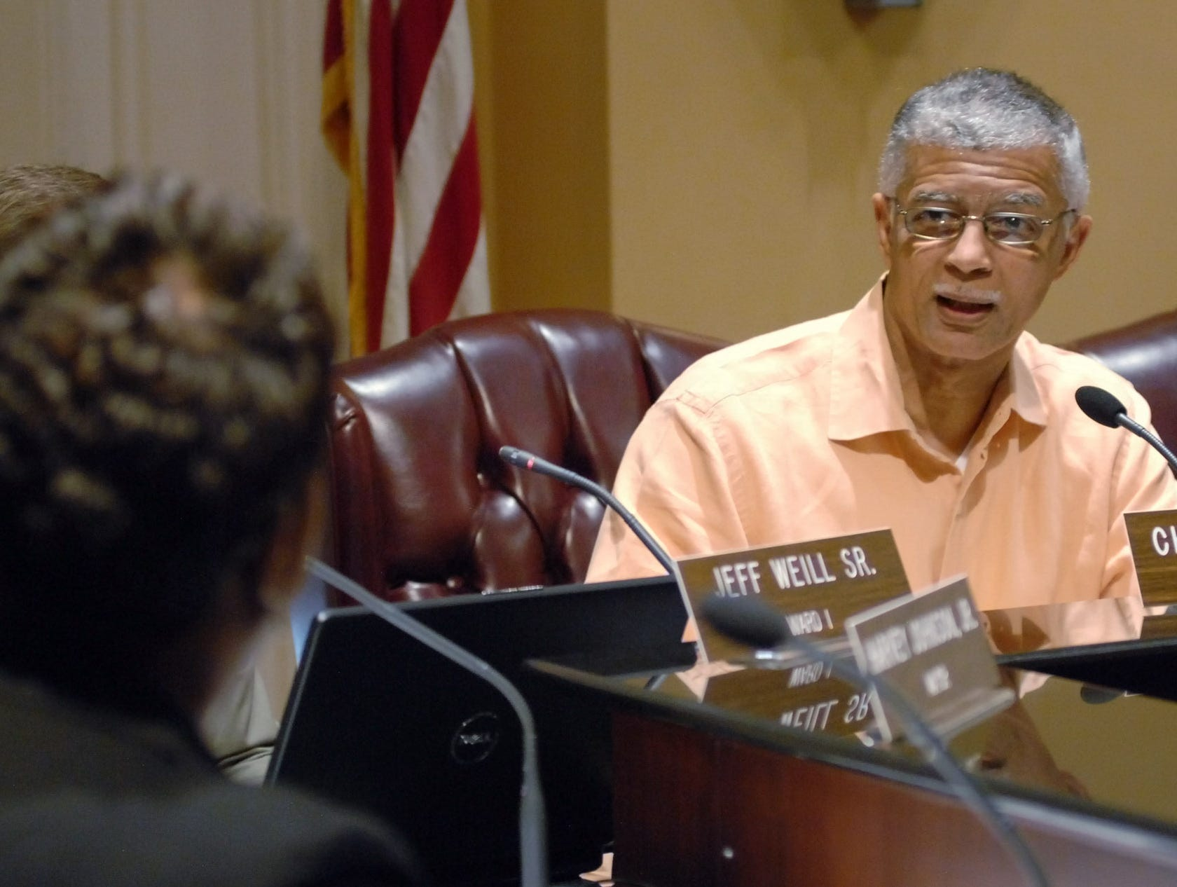 Ward 2 Jackson City Councilman Chokwe Lumumba (right) questions school board appointee, Monica Gilmore-Love (left) during her confirmation hearing Tuesday afternoon at Jackson City Hall.  Love was confirmed by the council by a vote of 4-1 with Lumumba casting the lone dissenting vote.