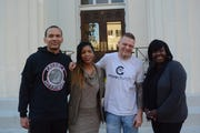 Rukia Lumumba, second from left, is spearheading a new crime prevention strategy in Jackson, Miss., that could be a model for other cities in the South. Lumumba, the sister of Mayor Chokwe Antar Lumumba, is heading up a team of Credible Messengers who will counsel and mentor at-risk youth in neighborhoods in need in the city. The team, pictured here, includes Terun Moore, from left, Bennie Ivey and Valencia Robinson.