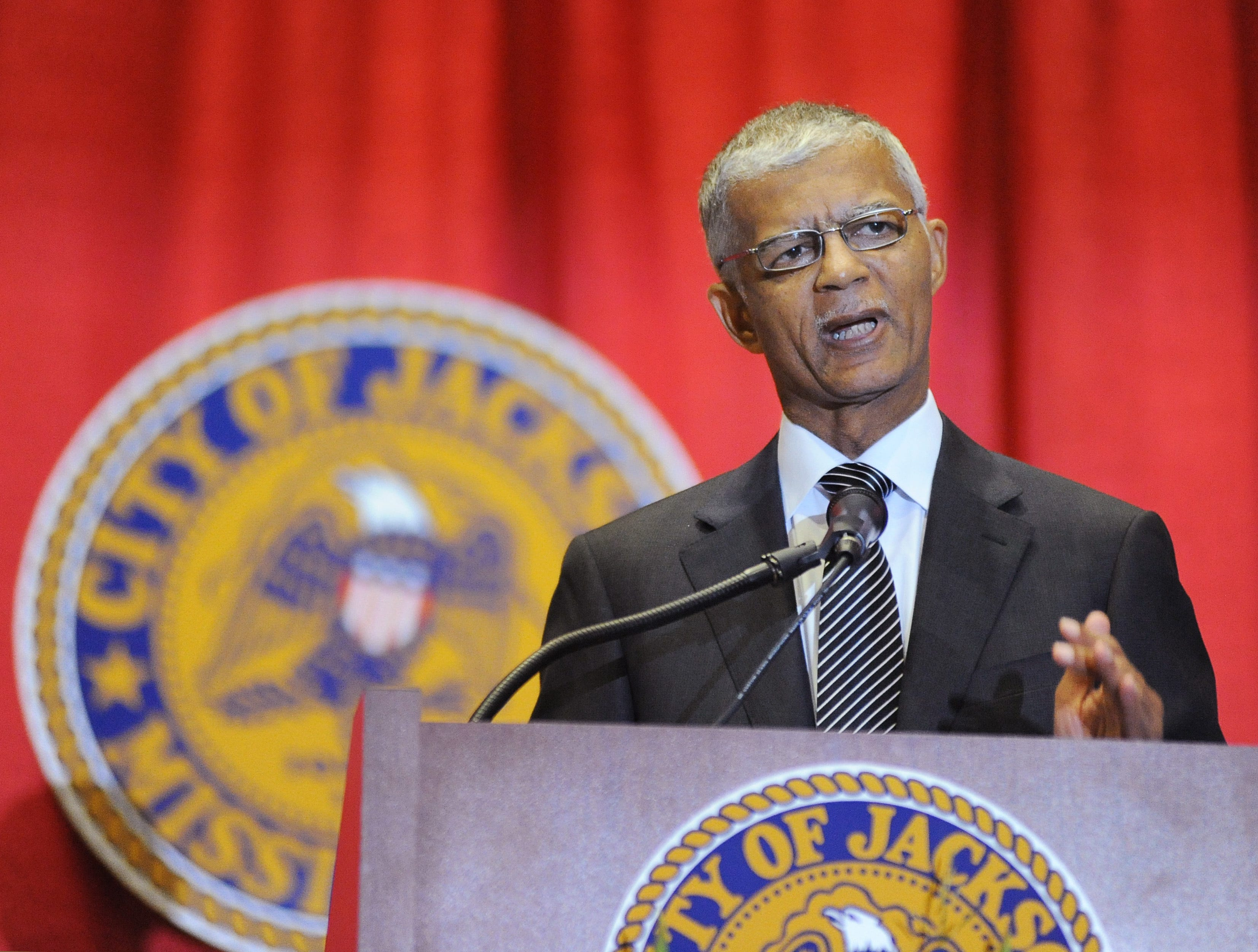 Jackson Mayor Chokwe Lumumba delivers his inaugural address at the Jackson Convention Complex in 2013. Lumumba died the following February, and his heirs have sued St. Dominic Hospital in Jackson over his death.