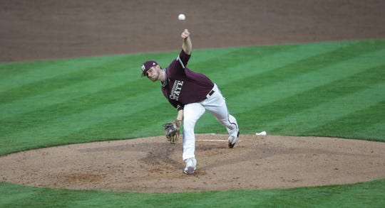 Mississippi State's Ethan Small hasn't registered a decision in either of his two starts this season, but he has 24 strikeouts and a 1.50 earned run average. He has solidified himself as MSU's ace. Photo by Keith Warren