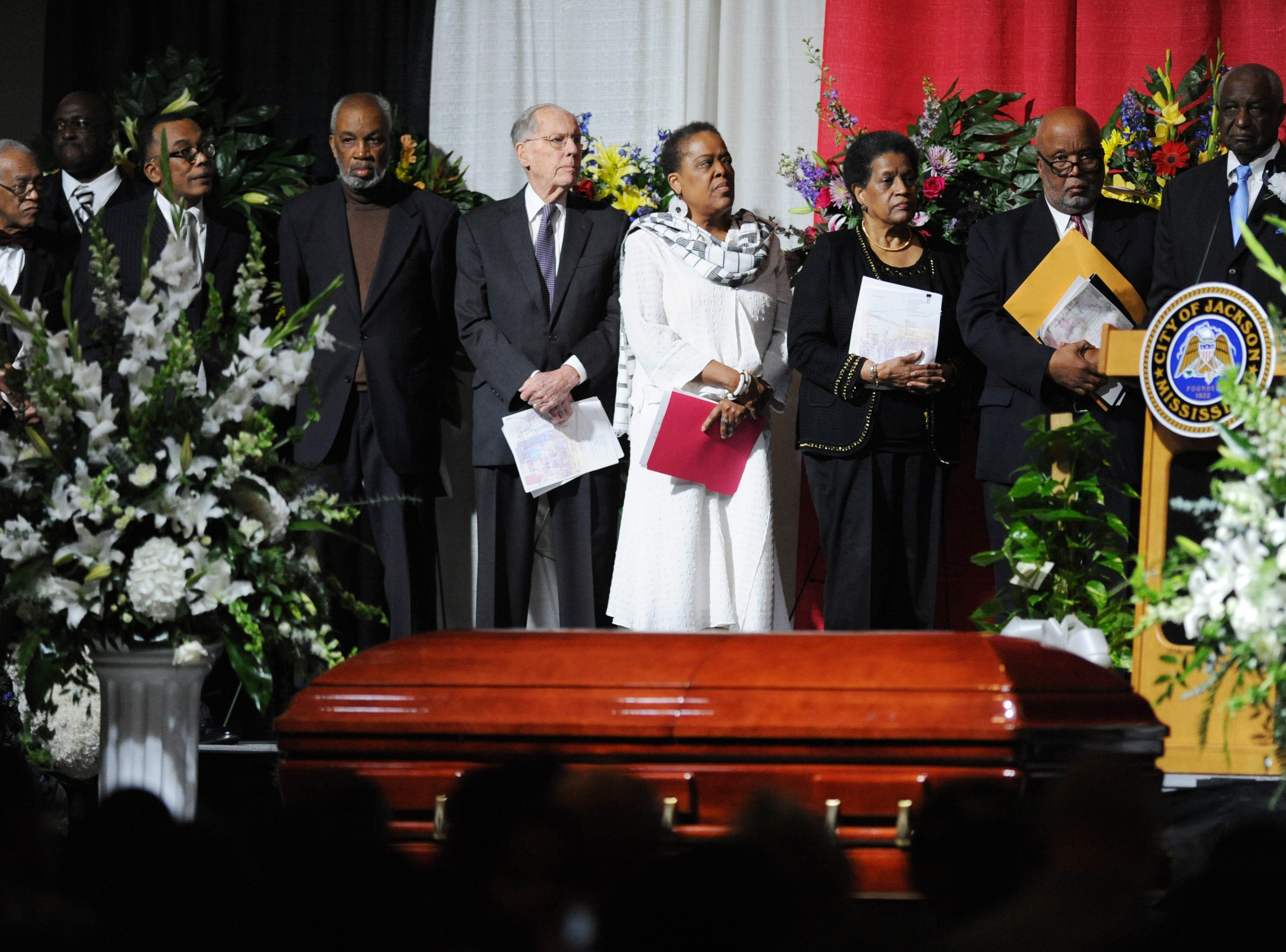 Speakers at the service for Jackson Mayor Chokwe Lumumba, including politicians and prominent figures of the civil rights movement, lauded the late mayor's accomplishments and urged Jackson to follow through on his plans.